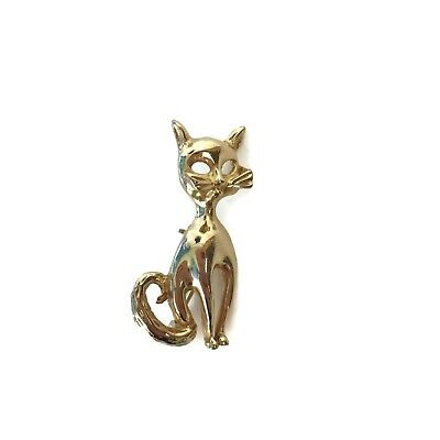Vintage Goldtone Stylized Cat Kitten Whiskers Pin Brooch Costume Jewelry 1-3/4