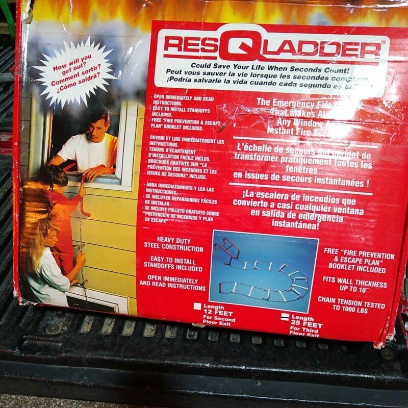 ResQLadder Fire Escape Ladder, 3 Story Portable Emergency Escape Ladder, 25-Foot