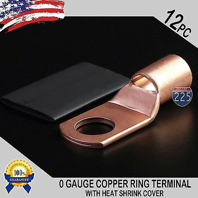 12 Pc 10 Awg 0 Ga Copper Ring Terminal Heat Shrink 12 Hole Stud Lug Connector