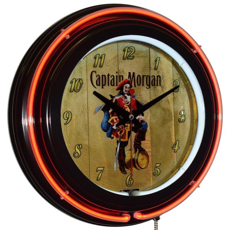 "Captain Morgan Original Spiced Rum 15"" Double Neon Clock Bar Man Cave Decor (BK)"