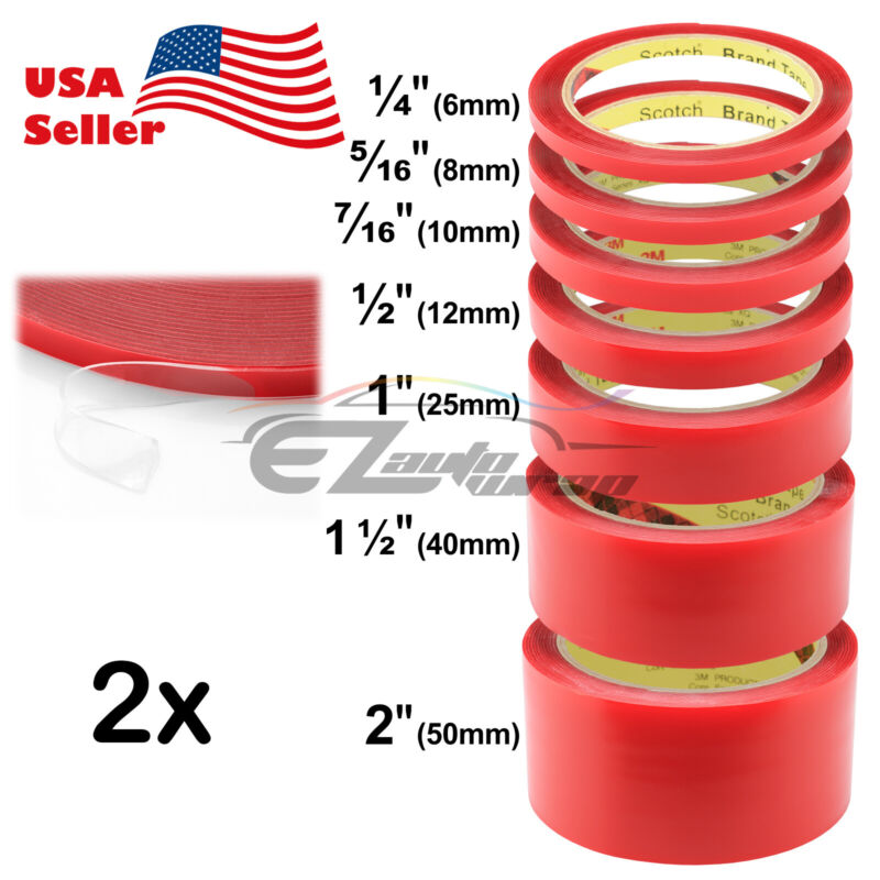 """2x 3m/roll Automotive Acrylic Double Sided Tape 1/4"""" 5/16"""" 7/16"""" 1/2"""" 1"""" 1.5"""" 2"""""""