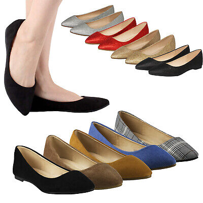 Women's Suede Glitter Mesh Classic Pointed Toe Ballet Flats Slip On Flat Shoes Ballet Classic Flats