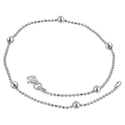 Leg Avenue .925 Sterling Silver 1.25MM Octagonal Snake Link Anklet Bracelet 9 inches