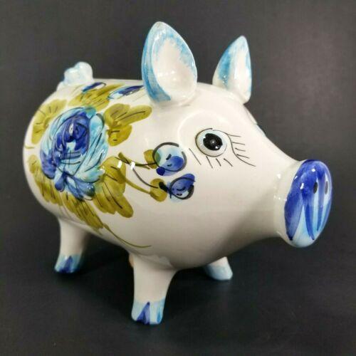 "Vintage Hand Painted Ceramic Jug Pig Piggy Bank, Blue White Floral Italy 8x7x5"""