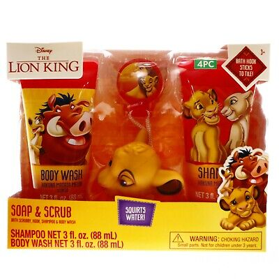 Disney The Lion King Bath Toys For Kids Body Wash Scrub Shampoo Gift Set Ages 3+