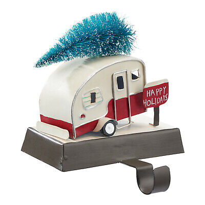 Holiday Time White Christmas Retro Camper Tree On Top Stocking Holder Retro Christmas Stockings