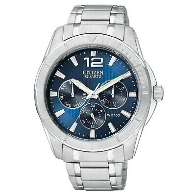 Citizen Men's AG8300-52L Quartz Day & Date Silver-Tone Bracelet 41mm Watch