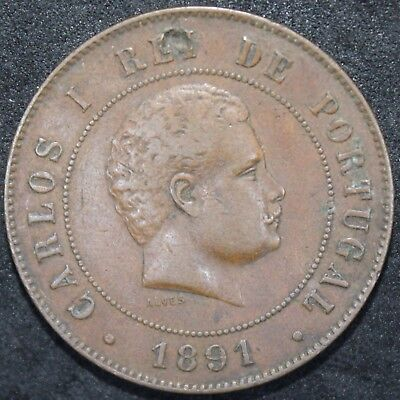 1891 | Portugal 20 Reis | Bronze | Coins | KM Coins