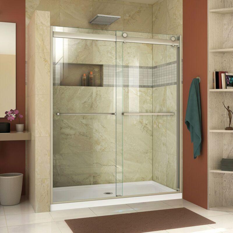 "DreamLine SHDR-636076H-04 Essence-H 56-60x76"" Semi-Frameless Shower Door, Nickel"