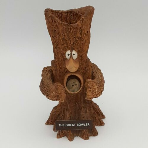 Vtg The Great Bowler Tree Design Funny Face Figure Pen Pencil Holder Bowling