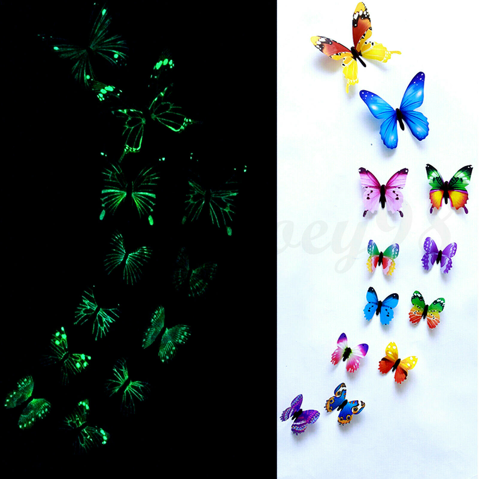 Home Decoration - 12 x 3D Luminous Butterfly Wall Stickers Home Decor Sticker Bedroom Kid