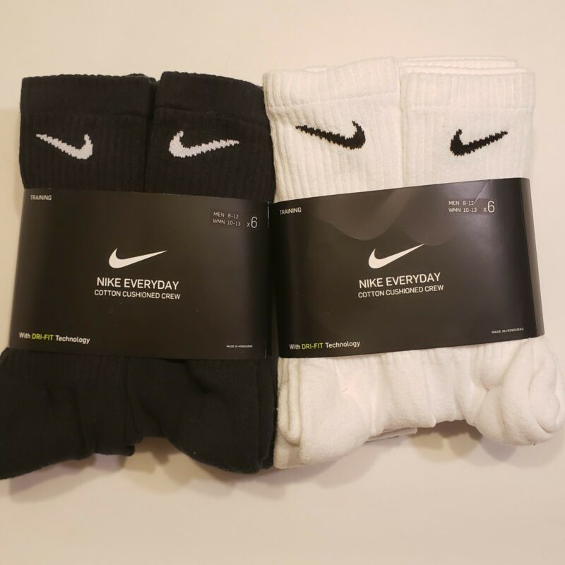 New Mens and Womens Nike Dri-Fit Crew Socks 6 or 3 pairs pack Large Cushioned