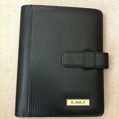 Daytimer Leather 7 Ring Desk Planner Black Franklin Covey Binder Monogramed Lmj