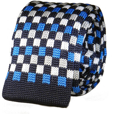 New Luxury Mens Blue Sky Blue Checkered Woven Tie Necktie Solid Knitted Skinny Sky Blue Mens Tie