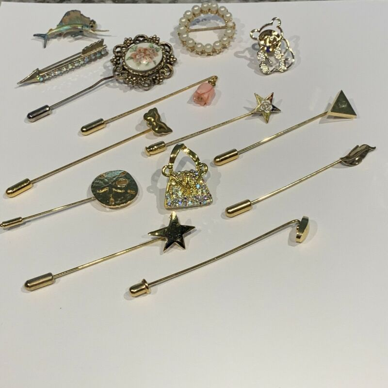 Lot Of 14 Vintage - Modern Brooch & Lapel Stick Pins
