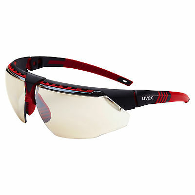 Uvex Avatar Safety Glasses with Indoor Outdoor Mirror Lens, Red Frame - Outdoor Red Lens