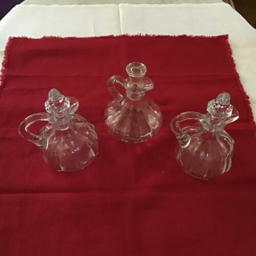 Vintage clear glass cruet oil, vinegar Bottles dispensers With stoppers lot of 3