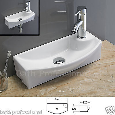 Basin Sink Bathroom Ceramic Wall Hung Cloakroom Countertop Tap Pop Up Left Bowl