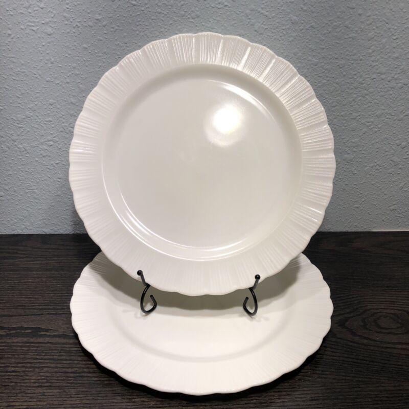 "2 VNTG Macbeth Evans White Cremax Pie Crust Edge 12"" Cake, Chop Plate / Platter"
