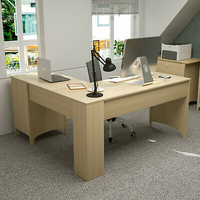 L-shaped Corner Computer Desk Table Laptop Workstation Home Office Antique White
