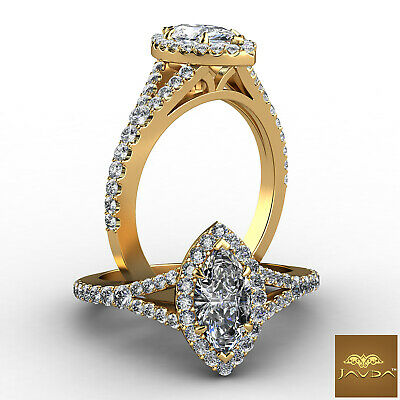 Halo Split Shank Marquise Diamond Engagement French Pave Set Ring GIA H VS1 1Ct