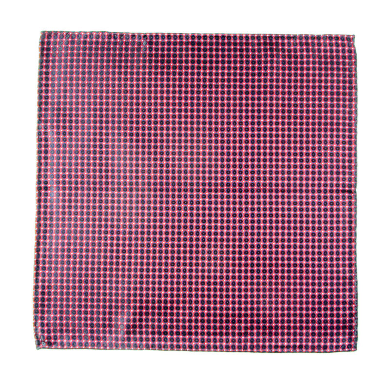 New ITALO FERRETTI Silk Red Black Geometric Pocket Square Handkerchief $150