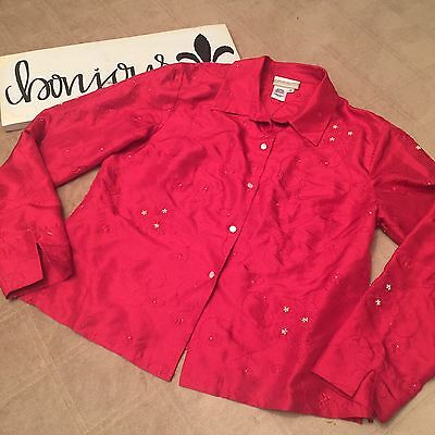 Cold water Creek Women's Blouse Red Silk Eyelet Size M BF050 Cold Water Creek Eyelet