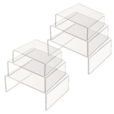 2 Sets Of Shelf Showcase Clear Transparent Acrylic Display Bridges Risers