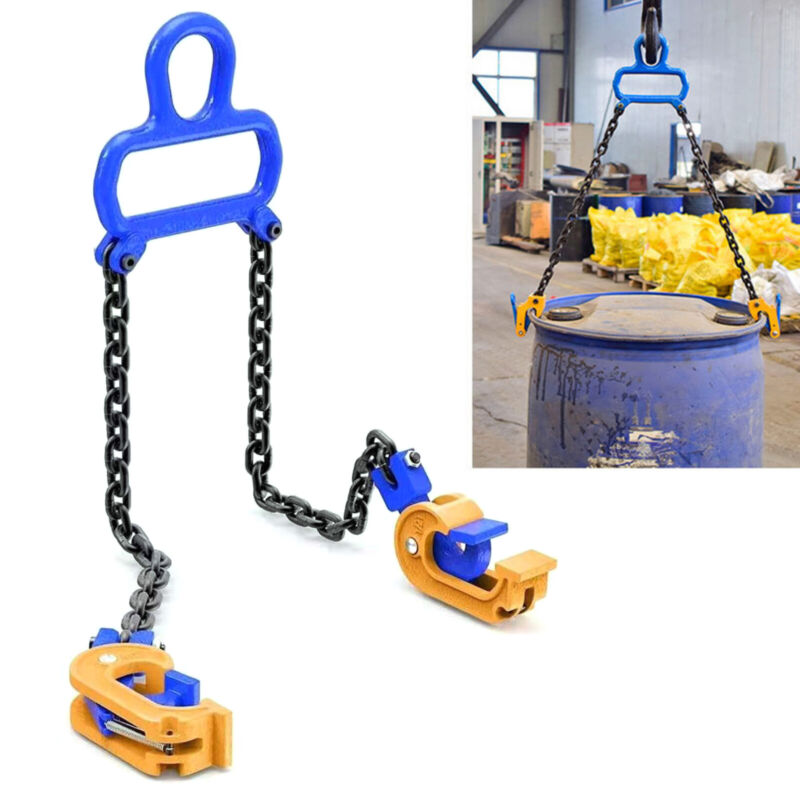 1 Ton Chain Drum Barrel Lifter Carbon Steel For Warehouse Fork Lifting Secure Us