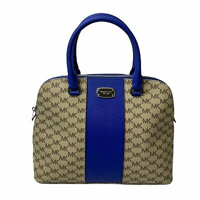 Michael Kors Blue Beige Monogram Blue Handles Zipper Closure Satchel Handbag