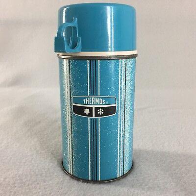 Vtg 1969 Metal Thermos Half Pint Blue Stripe No. 2833 King Seely Vacuum Bottle