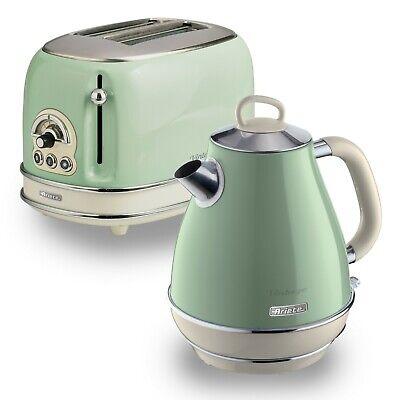 Ariete Retro Style 1.7L Jug Kettle & 2 Slice Toaster, Vintage Design - Green