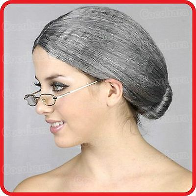 GRANNY-GRANDMA-GRANDMOTHER-NANNA-OLD LADY WOMAN-WIG-GREY HAIR WITH BUN-COSTUME (Grandmother Costume)