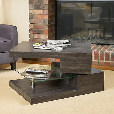 تربيزه جديد Contemporary Modern Rectangular Rotating Wood Coffee Table