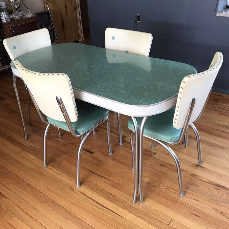 Vintage Formica Chrome Dinette Table 4 Chairs Set 1950s MCM Green Mid Century