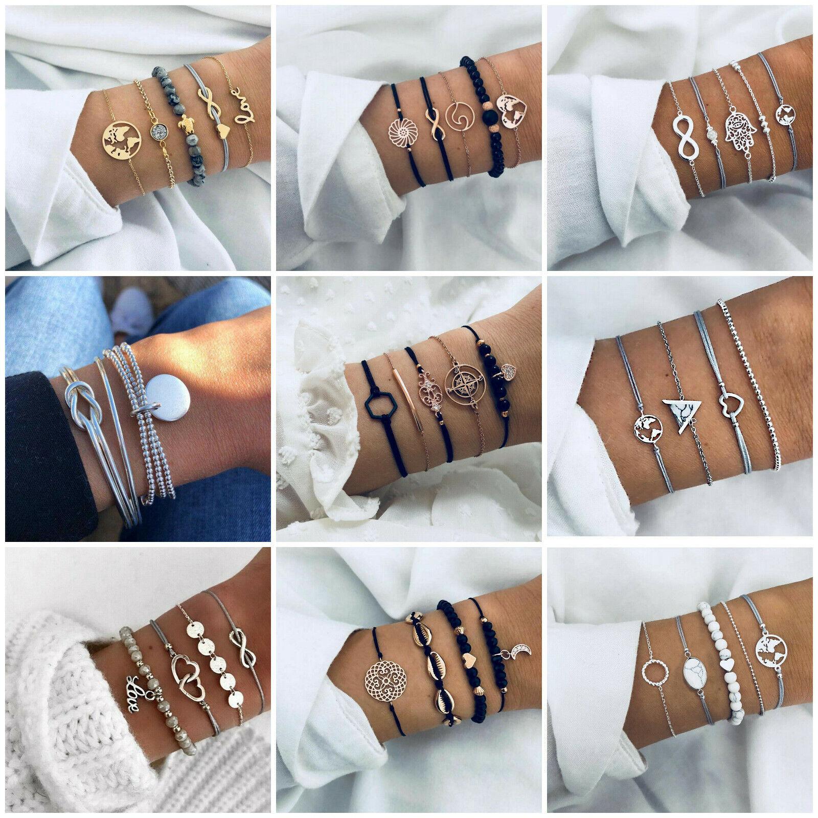 Jewellery - Women Girls Boho Multilayer Bracelet Map Bead Heart Tassel Bangle Cuff Jewellery