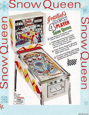 SNOW QUEEN By GOTTLIEB 1970 ORIGINAL NOS PINBALL MACHINE PROMO SALES FLYER