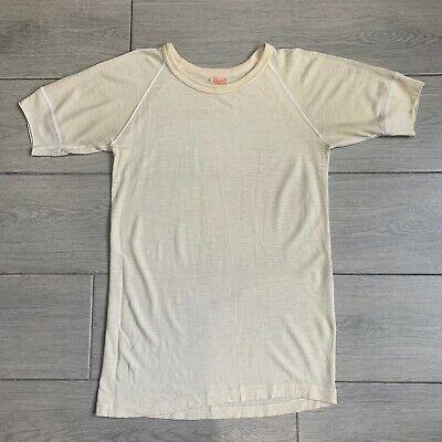 1940s Men's Shirts, Sweaters, Vests Vintage 1940s Kroy Wool Blend T-shirt Harvey Woods Blank Sheer Thin Size 42 $124.99 AT vintagedancer.com