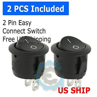 2 Pack 6a 250v 10a 125v Spst Onoff 2 Position Mini Round Rocker Switch 12v