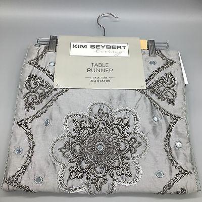 Kim Seybert Beaded Table Runner Gray Silver Beads Designer Holiday Christmas New