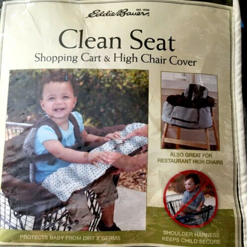 NEW Eddie Bauer Baby Toddler Shopping Cart High Chair Cover Brown & Blue Print