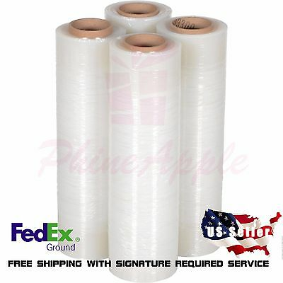 "18"" x 1000' 80 Gauge 4 Rolls Quality Pallet Wrap Stretch Film Hand Shrink Wrap"