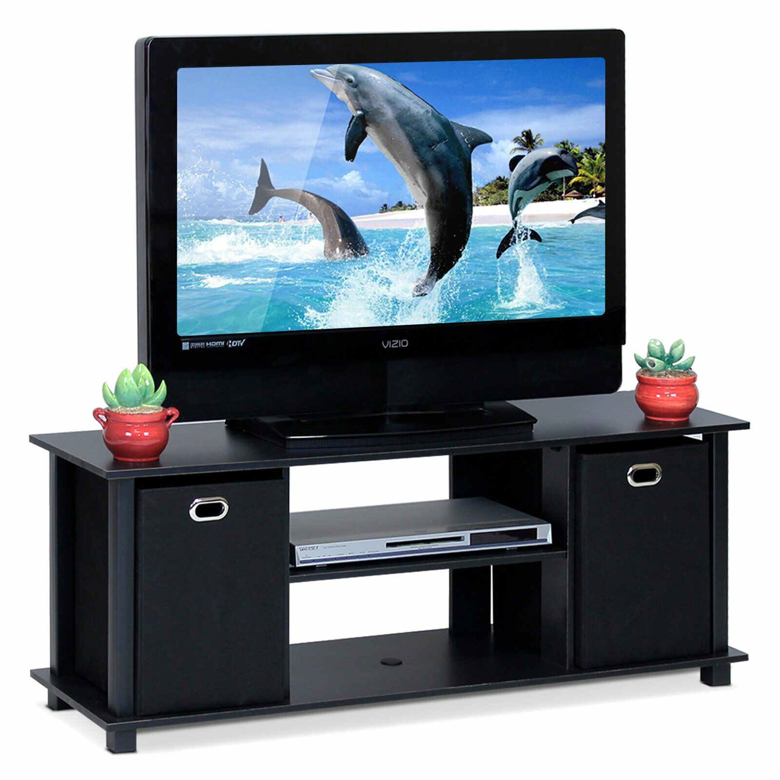 Wood TV Stand Console Media Cabinet Econ Entertainment Table