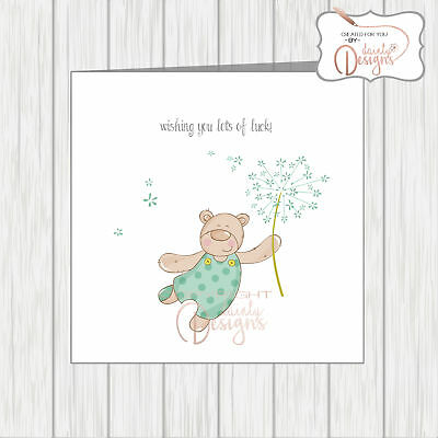 Good Luck Wishes Cards - Wishing You Good Luck Card Cute Teddy Bear Holding Dandelion Clock Making Wishes
