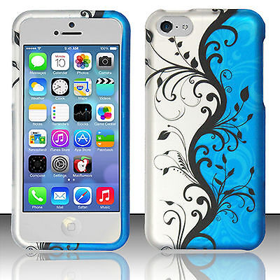 Rubberized Blue Snap - For Apple iPhone 5C Rubberized HARD Protector Case Snap Phone Cover Blue Vines
