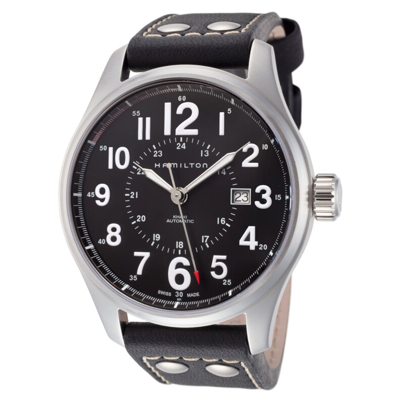 Hamilton-Men-Khaki-Field-H70615733-44mm-Black-Dial-Leather-Automatic-Watch