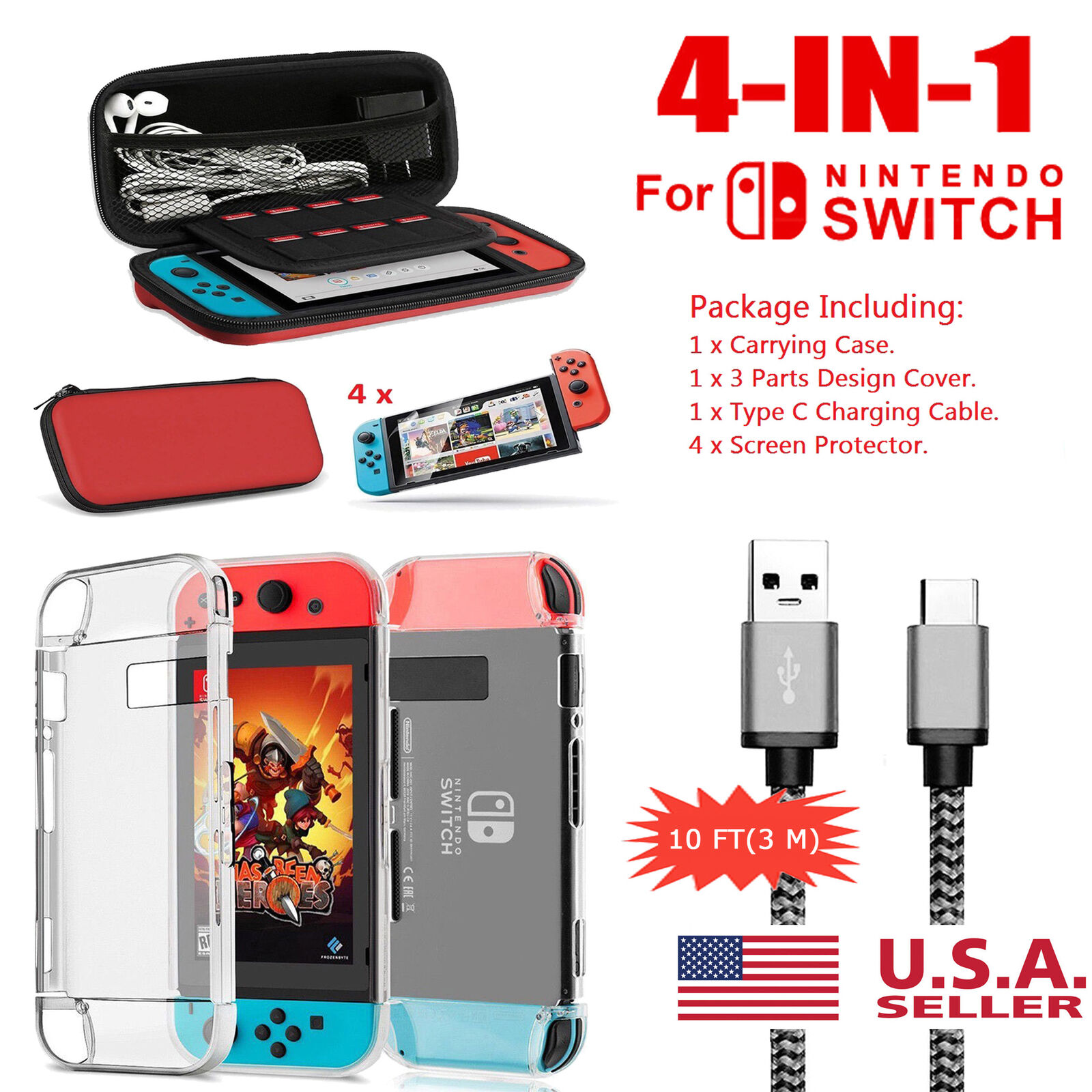 For Nintendo Switch Travel Carrying Case Bag,Screen Protecto