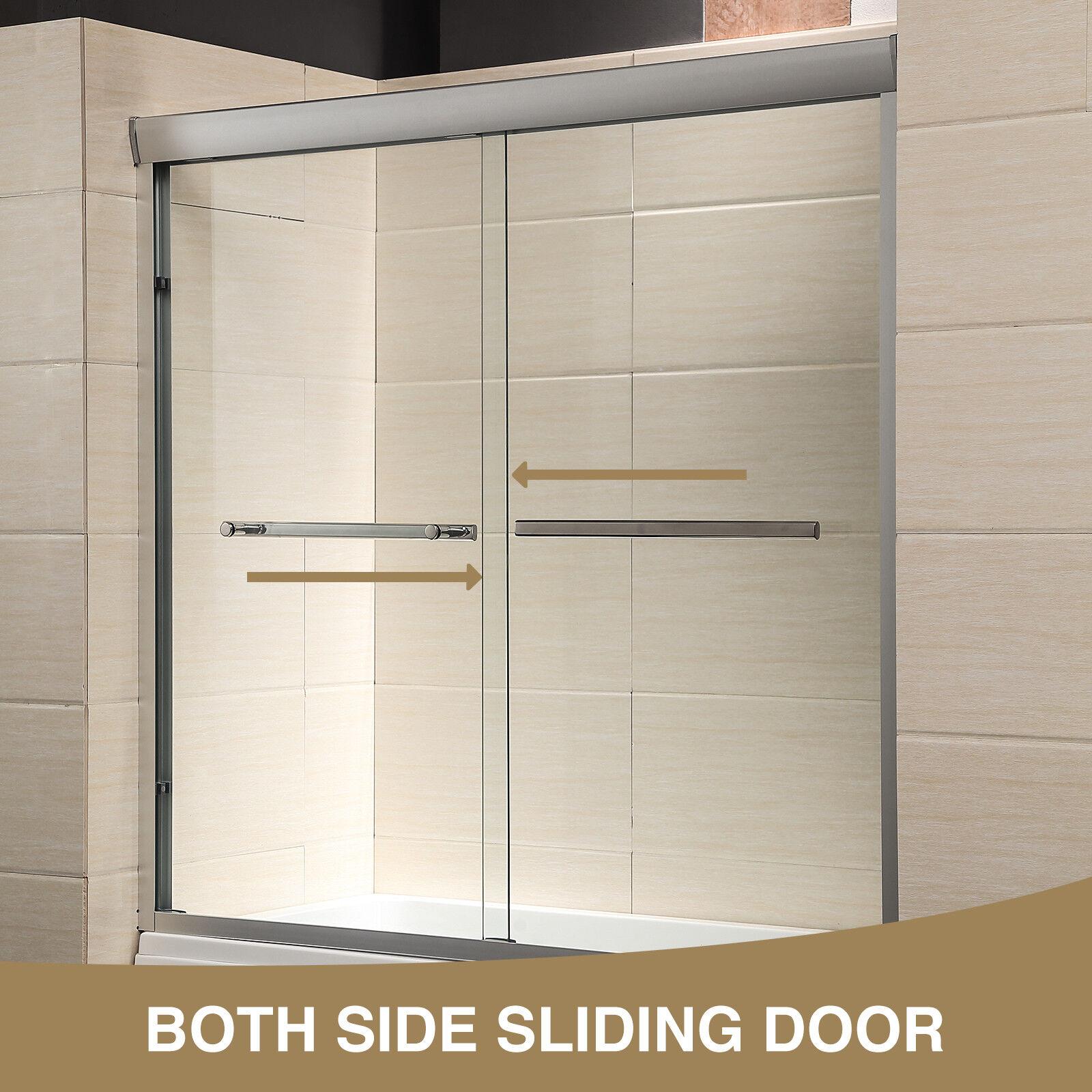 Details About 60 Framed 2 Sliding 1 4 Clear Glass Bath Shower Door Brushed Nickel Finish