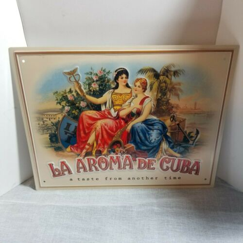 "La Aroma de Cuba Cigar Metal Sign Embossed 14"" x 11"" My Father Don Pepin NEW"