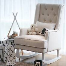 Linen Fabric Rocking Chair Nursery Baby Feeding Chair Brand New Tullamarine Hume Area Preview